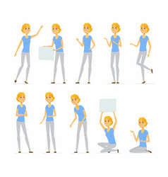 young pretty blond woman - cartoon people vector image