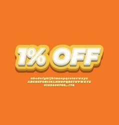 1 off sale discount promotion text 3d orange vector