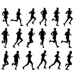 18 marathon runners silhouettes vector