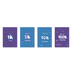 1k 5k 10k100k followers templates vector