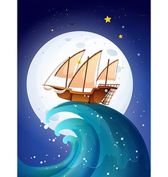 A ship above the giant waves vector