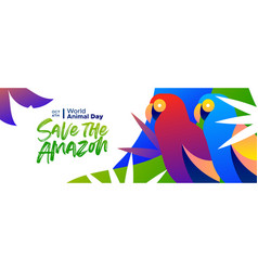 Animal day banner amazon forest parrot birds vector