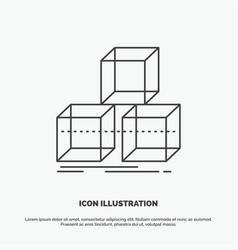 Arrange design stack 3d box icon line gray symbol vector