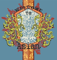Asian art pattern vector