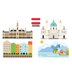 Austria with traditional symbols architecture vector