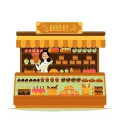 Bakery shop - cartoon chef baker woman holding big vector