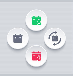 battery icons battery replacement warning sign vector image