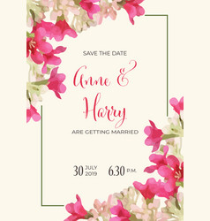 Beautiful floral wedding invitation in watercolor vector