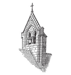 Bell gable turret placed vintage engraving vector