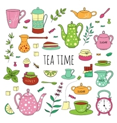 Big set of tea time vector image