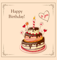 birthday card with cake tier candle cherry vector image