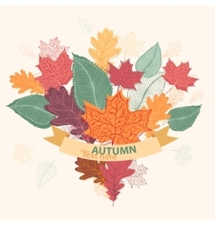 bouquet autumn colorful leaves tied with ribbon vector image