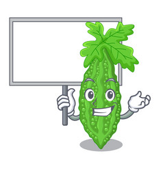 Bring board bitter melon isolated on a mascot vector