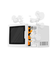 Broken microwave oven with steam and fire isolated vector