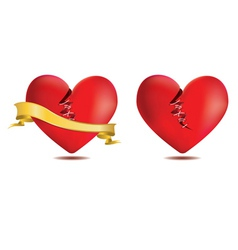 Broken red heart with gold ribbon vector image