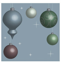 Card Christmas balls blue vector image
