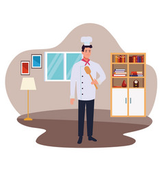 Chef worker with hat holding a spoon cartoon vector