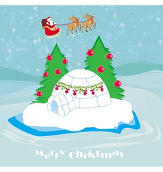 christmas igloo at the evening vector image
