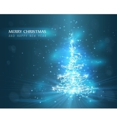 Christmas tree with defocused lights Blue vector image