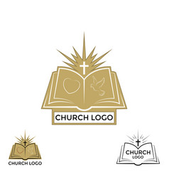 Church logo cross and open bible vector