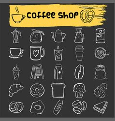 Coffee shop doodle icon set vector