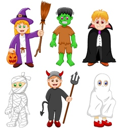 collection of kids with halloween costume vector image