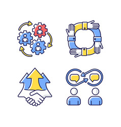 Cooperation rgb color icons set vector