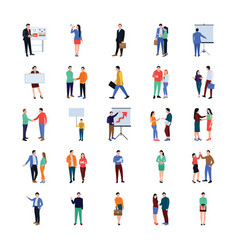 Coworking people flat icons set vector