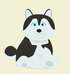 cute baby sybirian huskey sitting on ground vector image vector image