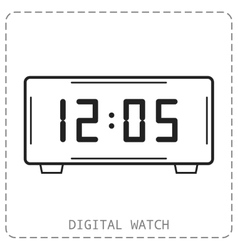 Electronic watch Flat linear icon isolated vector