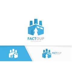 factory and arrow up logo combination vector image