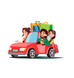 Family with children going in the car on vacation vector