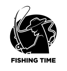 Fishing club icon of fisherman and fish catch vector