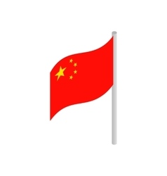 Flag of China icon isometric 3d style vector
