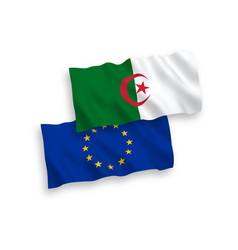 Flags european union and algeria on a white vector