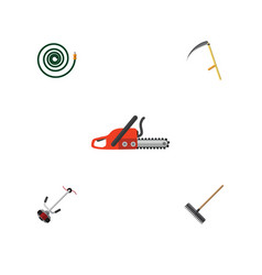 Flat icon farm set of cutter hosepipe harrow and vector