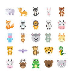 Flat icons set of animals vector