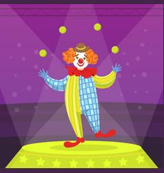 funny clown juggling balls circus performance vector image