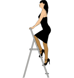girl in stairs vector image