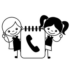 girls and phone book contacts vector image