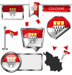 Glossy icons with flag of cologne germany vector