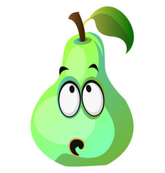green pear cartoon face thinking on white vector image