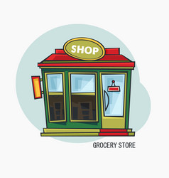 Grocery shop or store with showcase exterior view vector