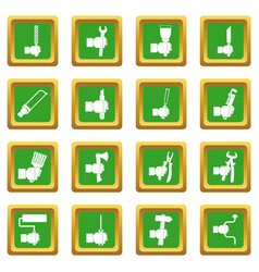 Hand tool icons set green vector