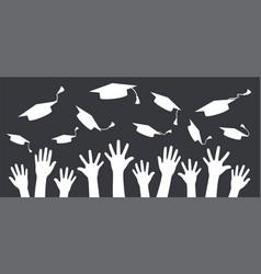 hands of graduates throwing graduation hats in vector image