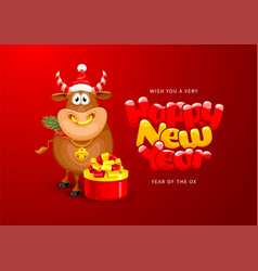Happy new year year ox greeting card vector