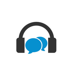 headphone with bubble chat template vector image