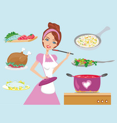 housewife cooking dinner vector image