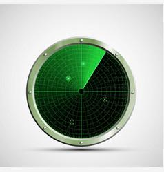 icon green military radar on screen vector image