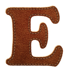 Leather textured letter E vector
